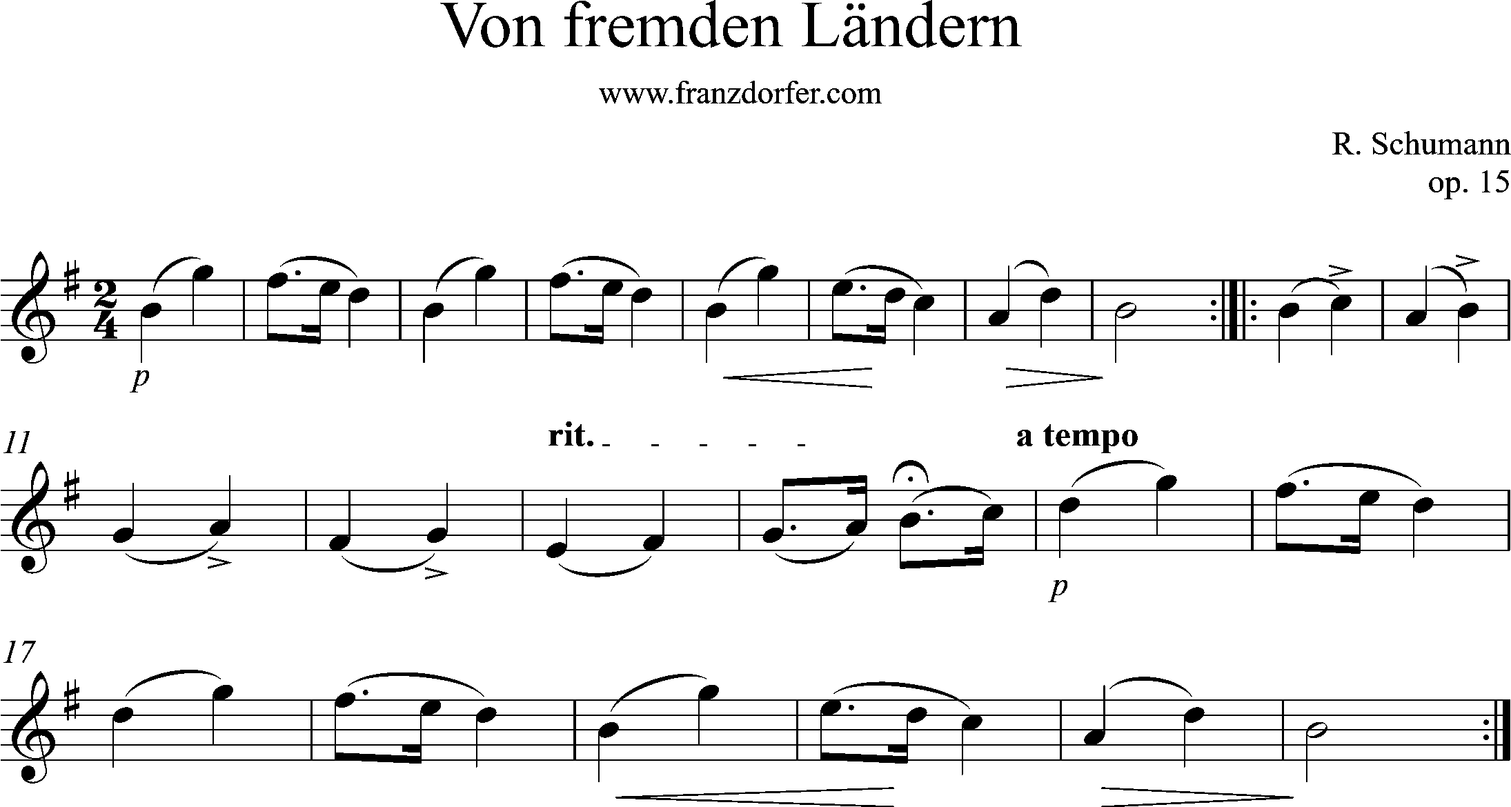 Sheetmusic for Flute, Violin, G-Major, Von fremden Ländern